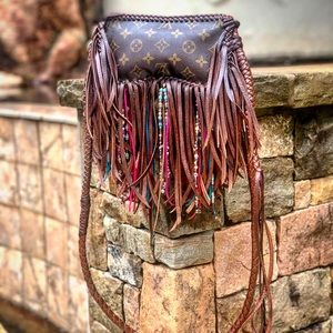 Auth Louis Vuitton Crossbody Fringe Boho Bag
